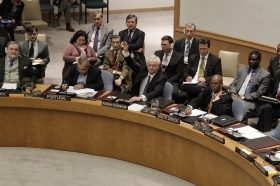 Ambassador Vitaly Churkin, Permanent Representative of the Russian Federation to the United Nations, casts his veto against a draft resolution on the situation in Syria in 04 February 2012 (UN Photo, Paulo Filgueiras)
