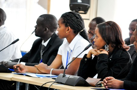 Dag Hammarskjold Symposium: Youth from UNA-Uganda, UNA-Tanzania and UNA-Kenya discuss the importance of RtoP in East Africa.  Credit: WFUNA