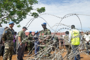 UNMISS peacekeepers guarding the Tomping protection of civilians site in South Sudan. UN Photo/Eskinder Debebe.