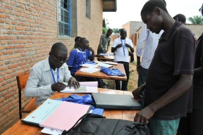 Electoral workers conducting voter registration for the upcoming 2015 elections in Burundi. Photo credit: MENUB